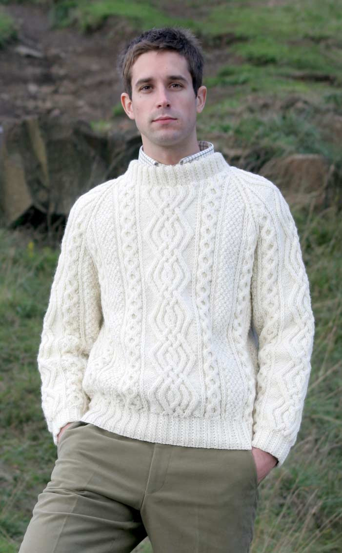 Mens Hand Knitted Luxury Aran Sweater Ben More Clan By Scotweb