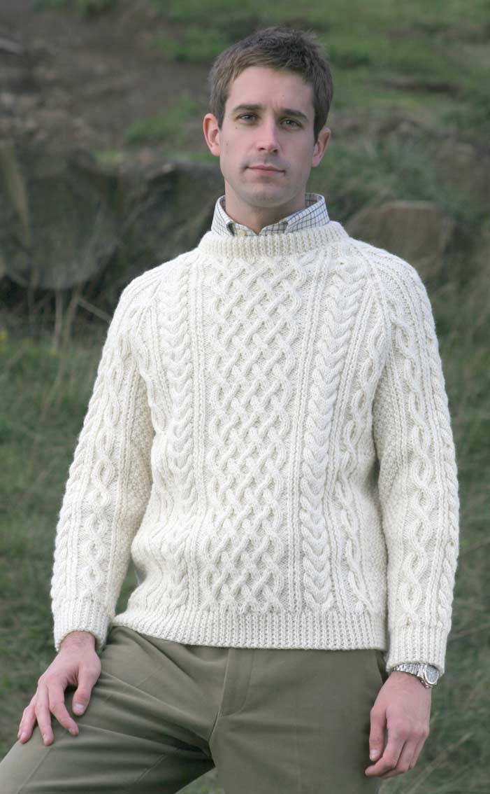 8786d4e61 Mens Hand Knitted Luxury Aran Sweater - Torridon