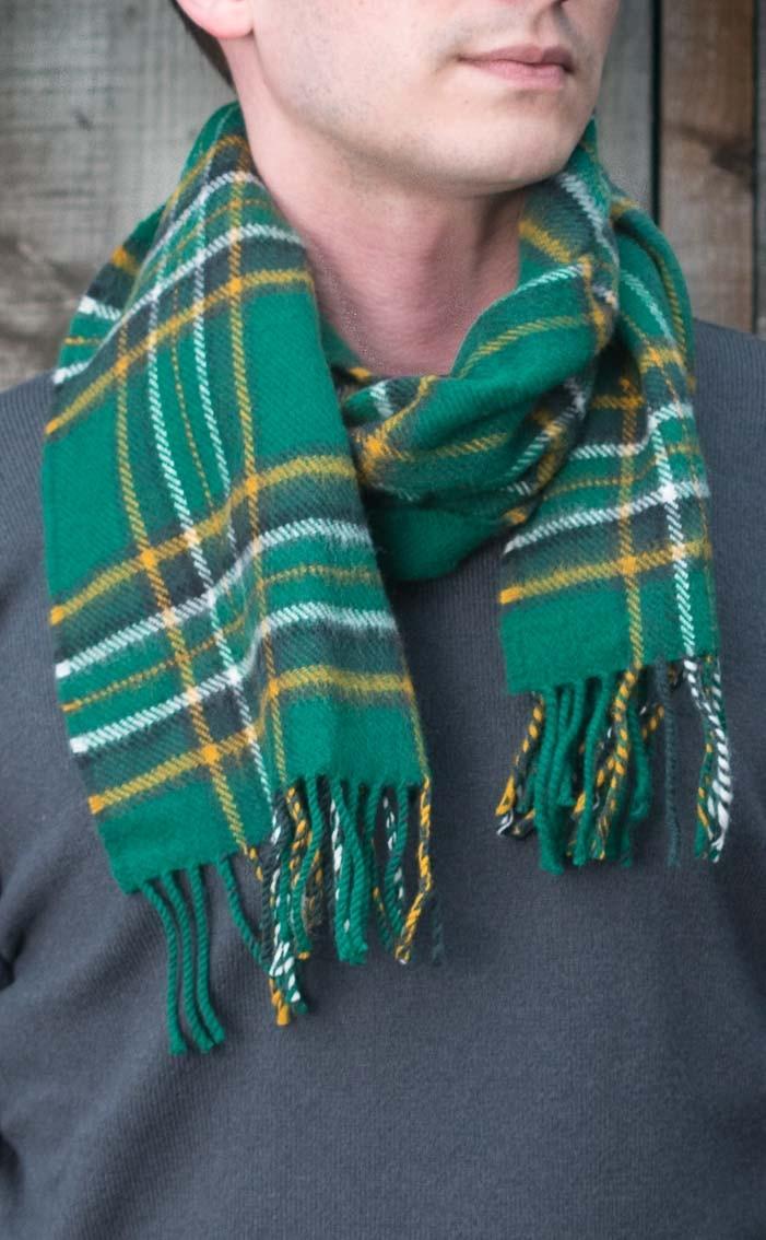 Standard Blue And Green Tartan Designed Lambswool Scarf