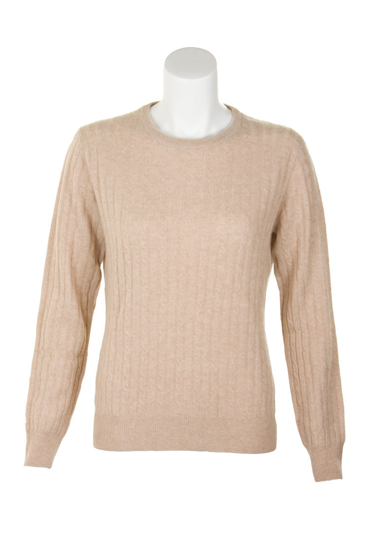 Cashmere Cable Crew Neck Sweater | CLAN by Scotweb
