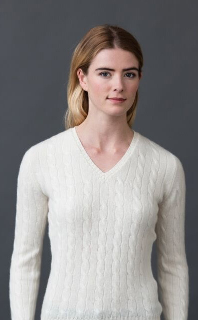 Luxury Scottish Cashmere Sweater, Cable Knit V Neck | CLAN