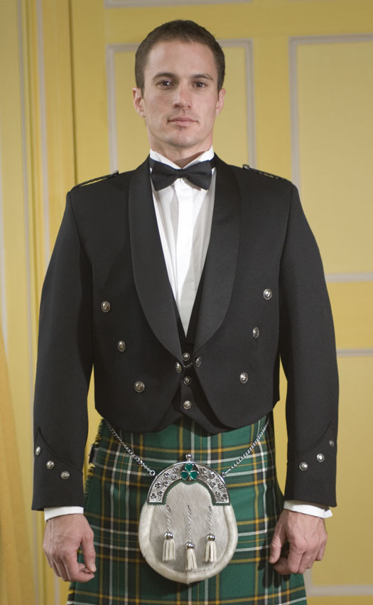 By House Of Scottish Custom Made Traditional Irish Brian Boru Jacket Prince Charlie Kilt Jacket