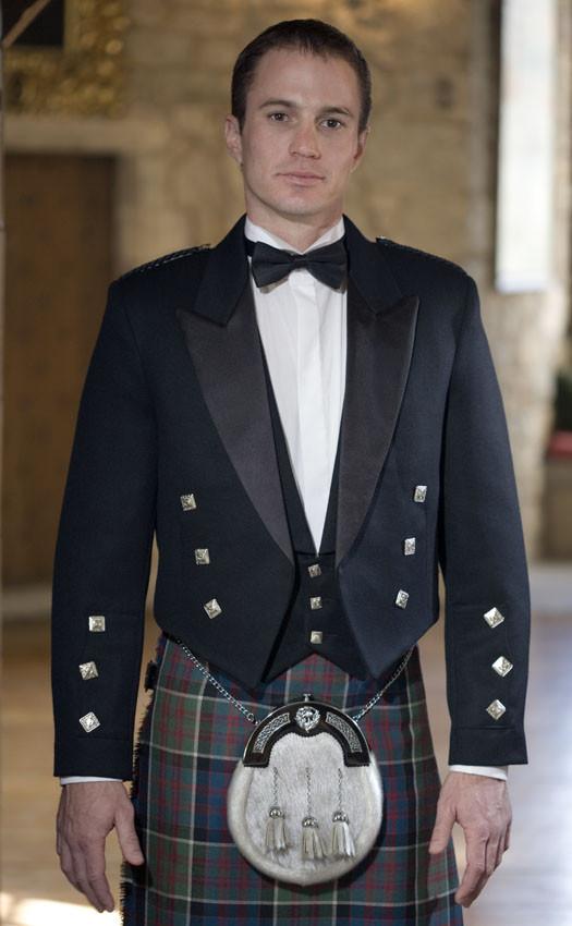 Prince Charlie Kilt Jacket With Waistcoat//Vest Satin lapels