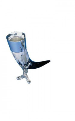 Oxhorn Drinking Horn With Pewter Insert And Stand