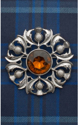 Scottish Thistle Jewelled Plaid Brooch
