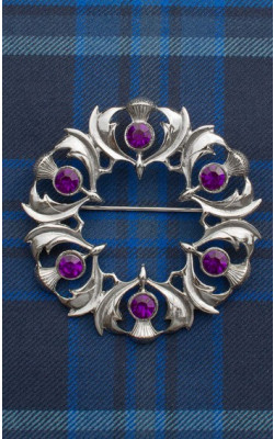 Jewelled Scottish Thistles Plaid Brooch
