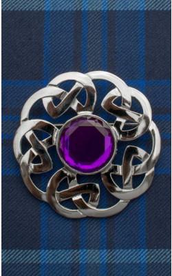 Brown Clan Scottish Highlanders Plaid Brooch