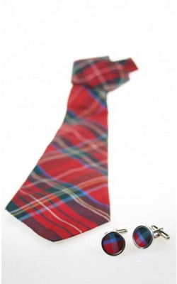 Silk Tartan Tie & Cuff Links Gift Set