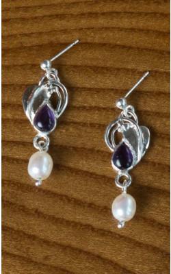Teardrop Amethyst and Pearl Earrings