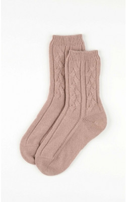 Ladies Cable Knit Cashmere Bed Socks