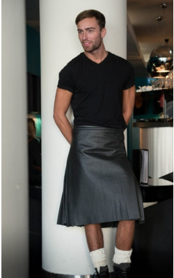 Black Leather Casual Kilt