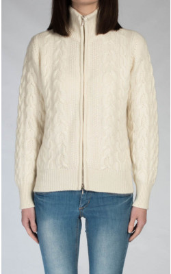 Luxury Scottish Cashmere Zip‑Up Top, Bomber Style
