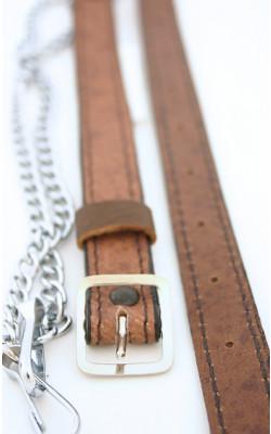Khaki Leather Chain Strap
