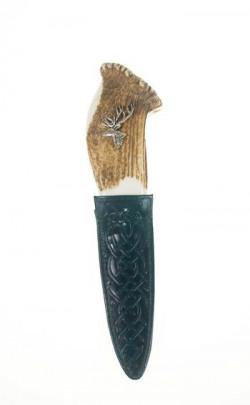 Stag Antler Sgian Dubh, pewter deer emblem