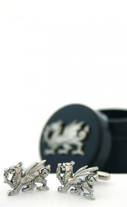 Welsh Dragon Cuff Links with Presentation Box