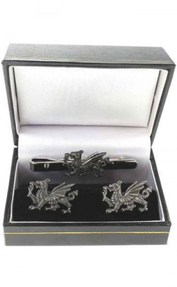 Welsh Dragon Tie Bar and Cuff links Set