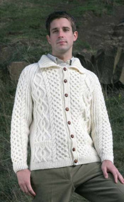 Gents Hand‑Knitted Luxury Aran Cardigan ‑ Leven