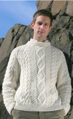 Gents Hand‑Knitted Luxury Aran Sweater ‑ Moorfoot