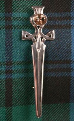 Scottish Quartz Celtic Thistle Kilt Pin