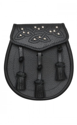 Daywear Sporran, Celtic Tooled and Studded Flap