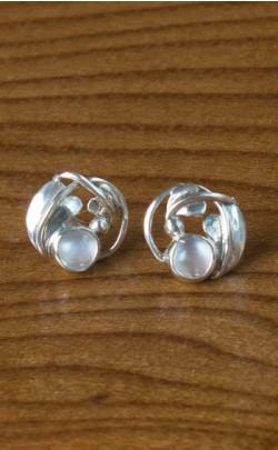 Moonstone Floral Stud Earrings