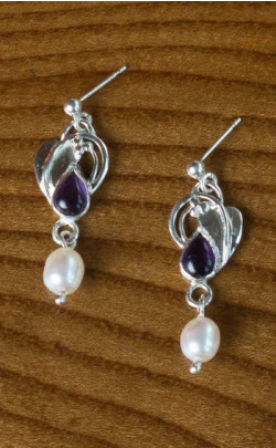 Teardrop Amethyst and Pearl Earrings