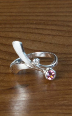 Pink Tourmaline and Cubic Zirconia Ring