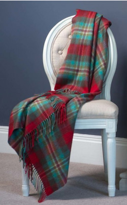 Luxury Cashmere Throw, Cardinal Blue Merchiston Plaid