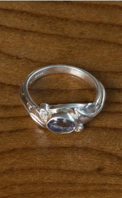 Iolite and Silver Leaf Ring