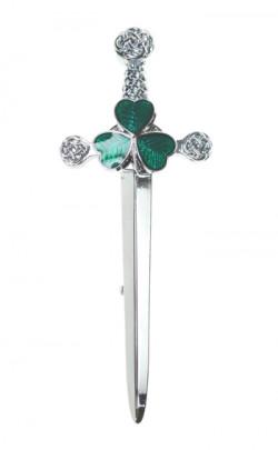 Green Shamrock Sword Kilt Pin