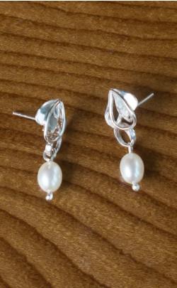 Silver Pearl Floral Earrings