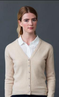 Luxury Scottish Cashmere V‑Neck Cardigan, Charlotte