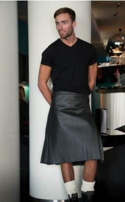 Black Leather Casual Kilt