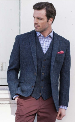 Navy Harris Tweed Jacket