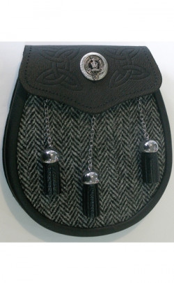 Harris Tweed Semi Dress Sporran with Clan Crest