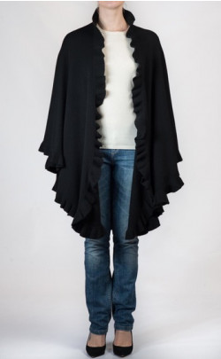 Knitted Cashmere Cape, frilled edge