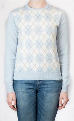 Ladies Cashmere Argyle Crew Neck Sweater