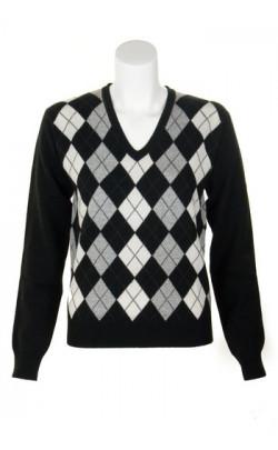 Ladies Cashmere Argyle V‑Neck Sweater