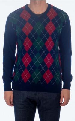 Gents Cashmere Argyle V‑Neck Sweater