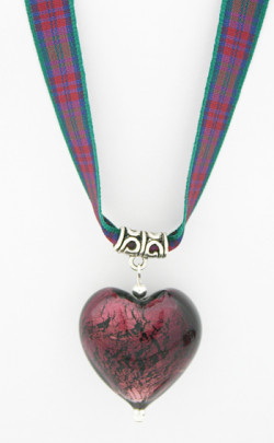 Jewel Heart Tartan Ribbon Necklace