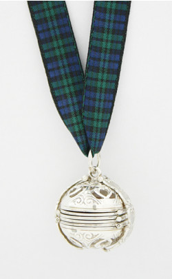 Silver Pomander Tartan Ribbon Necklace