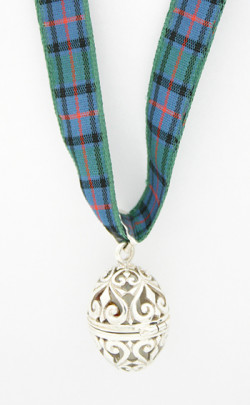 Filigree Egg Tartan Ribbon Necklace