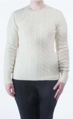 Luxury Scottish Cashmere Cable‑Knit Sweater, Crew Neck
