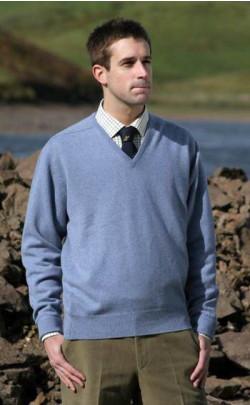 Luxury Scottish Cashmere Sweater, V‑Neck