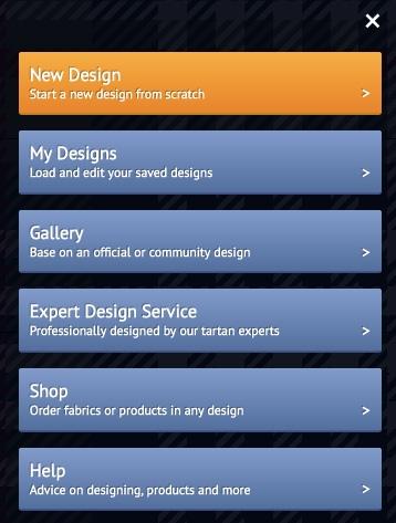 Tartan designer menu