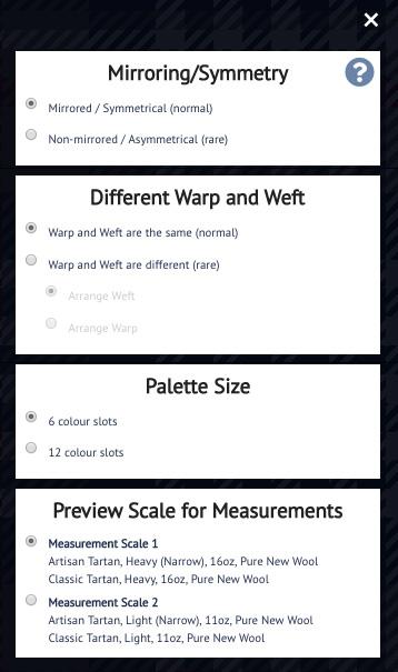 Tartan designer settings
